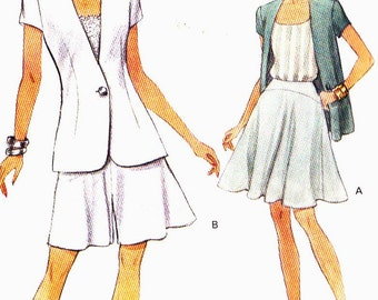 Vogue 8361 Jacket short sleeves with flared Skirt and Shorts Size 6-8-10 uncut sewing pattern