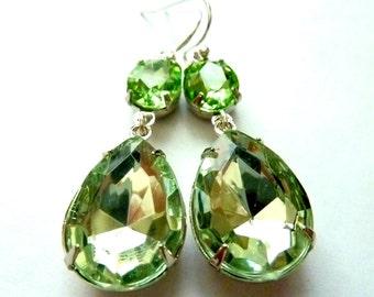 Peridot Earrings Peridot Green Earrings August birthstone Teardrop  Drop Wedding Bridal Estate Style