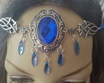 Sapphire Circlet of the Night Sky Priestess celtic elven bridal cosplay