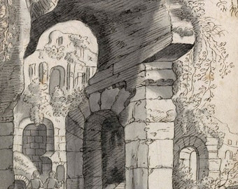 Anonymous Ink and wash drawing of ruins in a romantic landscape