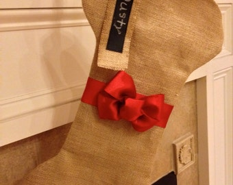 Personalized Burlap Dog Bone Christmas Stocking, Dog Stocking, Dog Stocking with Red Bow, Holiday Pet Stocking