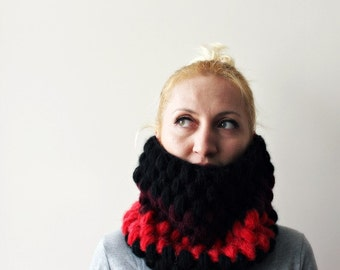 Chunky Scarf / Chunky Snood / Black Red Scarf / Chunky Cowl / Infinity Scarf / Circle Scarf / Gift for Her / Womens Gift / Mohair / Cowl