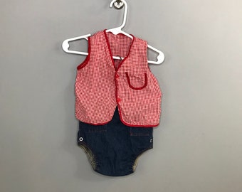 1950s Red Gingham Baby Set / Vintage Diaper Cover Set Denim / 9-12 month Baby Set Unisex