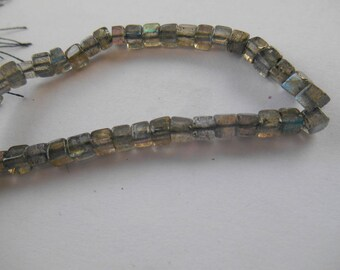 Gemstone Bead, Labradorite Cube, 3D  Faceted Square Labradorite Squares,  4mm Priced for 10 pcs