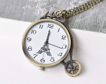 1 PC Antique Bronze Vintage Bicycle Pocket Watch 48x50mm A8693