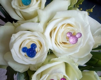 Special Offer 50 Disney inspired Hidden Mickey Minnie Mouse Bouquet Pins Various colours available Wedding Bride Bridemaids Accessories