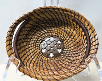 Button Basket Brown Button Pine Needle Basket Native American Pine Needle Coiled Basket For Him Housewarming Gift Basket For Her Home Decor