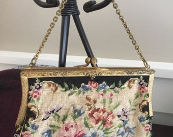Vintage 1940s 1950s black petit point embroidered purse/evening bag of floral tapestry made in Austria with chain