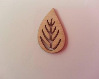 feuille en bois  naturel 30*19mm