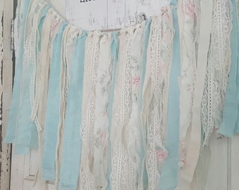 Fabrc and lace garland shabby chic,cottage