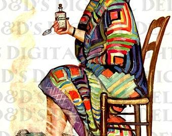 Get WELL.  Art Deco Vintage Illustration. Perfect For Greeting CARDS. Vintage DIGITAL Download. Vintage Get Well Print