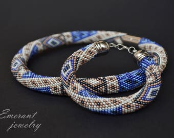 Holiday gifts for women holiday gift for mom Blue Beige beaded bracelet necklace Seed bead jewelry set for women necklace and bracelet set