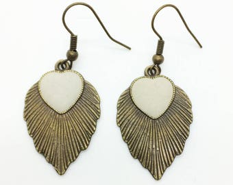 Earrings of concrete, concrete jewelry, handmade earrings, heart pendant, concrete earrings, gift for girlfriend, Valentine's Day