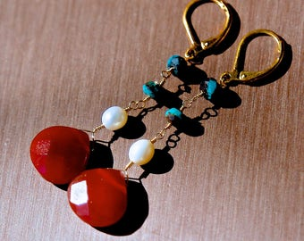 Gold Wire-Wrapped Earrings -- Carnelian, white pearl and natural turquoise