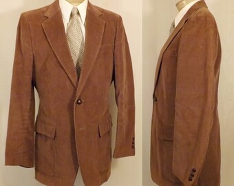 70's Vintage Brown Corduroy Sears Roebuck Co Blazer Size 36
