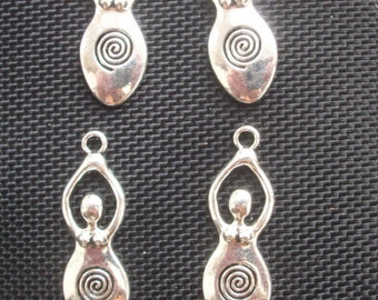 6 Goddess Gaia Spiral Fertility Pendants Flat 40mm