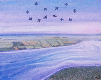 Birds Surreal Landscape Art Bay Fantasy Signal