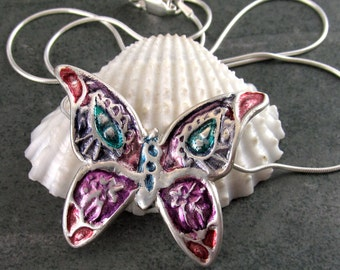 Paisley butterfly necklace, handmade recycled fine silver pendant-OOAK
