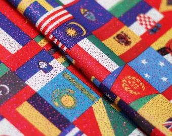 World is One Giant Country 4-Way Stretch Poly Spandex with Foil Fabric by the yard