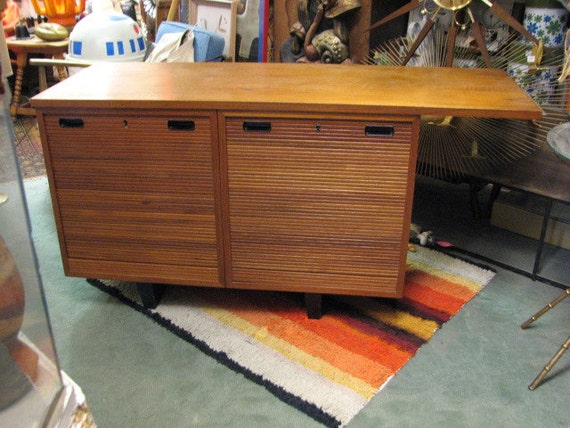 Vintage Nipu File Cabinet Credenza Sideboard with Tambour Doors, Danish Modern Style, 1958 Mid Century