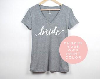 Bride Shirt, Custom V Neck Bachelorette Party Shirts, Personalized Bridal Shower Shirts, Bride Gift, Bridesmaid