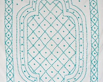 Antique turquoise and white cotton chenille hand sewn bedcover / blanket / bedspread