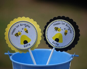 Bee Cupcake Toppers - Set of 12 Personalized Birthday Baby Shower Party Decorations
