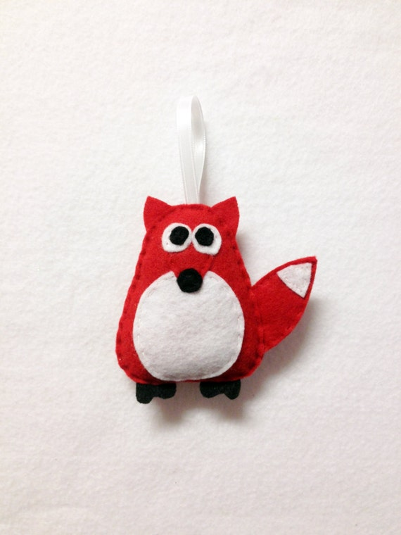 Fox Ornament, Red Fox, Christmas Ornament, Felt Holiday Ornament, Felt Animal, Andy the Red Fox, Secret Santa Gift
