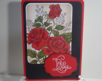 Love and Glittered Roses Card