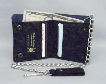 Vegan Chain Wallet Black and Gray Scratch Print, Navy Blue Canvas, Detachable Chain, Fabric Pockets