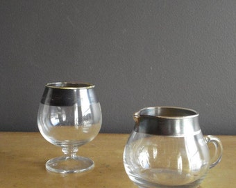 Fancy Like - Vintage Sugar and Creamer Set - Dorothy Thorpe - Glass with Silver Rims