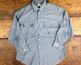 VTG Big Mac Work Wear Chambray Button Up Shirt Union Made