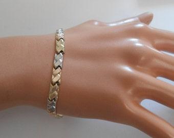 14K Solid Gold Tricolor Bracelet Size 7
