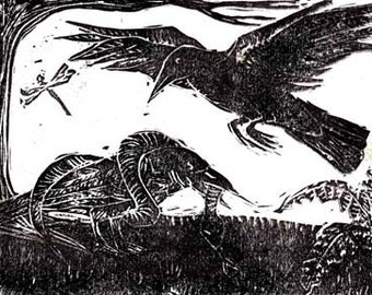 The Raven and The Serpent signed and numbered Limited Edition block print
