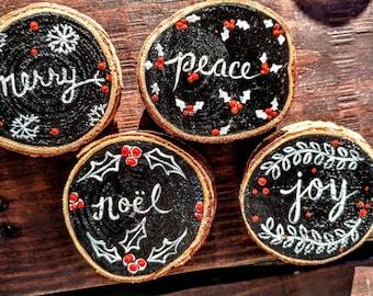 "Set of four, 2&1/2"", tree/wood round christmas, seasonal refrigerator magnets"