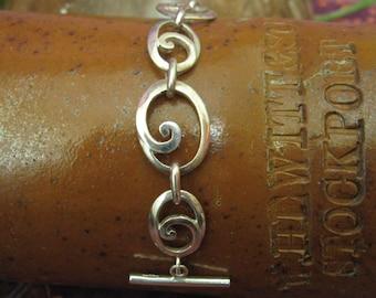 Sterling Silver Swirly T-Bar Bracelet