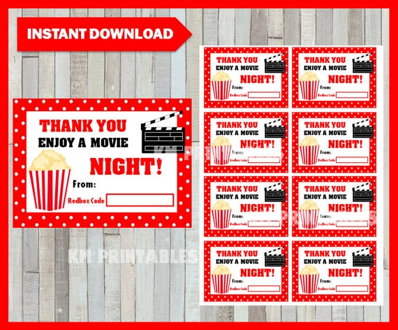 50% OFF Redbox Gift Card Instant Download Printable Teacher