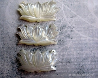 Balinese Lotus Carved Mother of Pearl Shell Pendant 48mm, 1pc