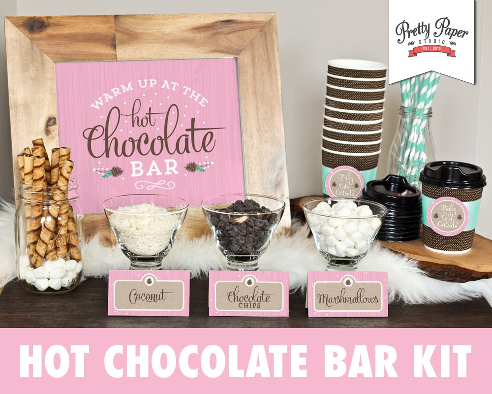 Hot Chocolate Bar Printable Kit // INSTANT DOWNLOAD // Pink