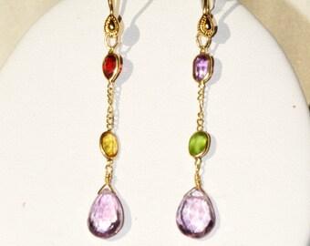 DELICATE MULTI-GEM Earrings....Amethyst,garnet,perdot,citrine Light & airy