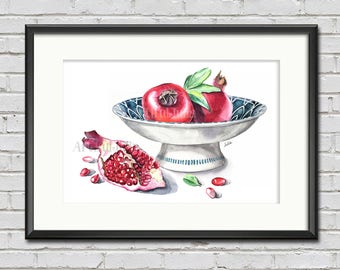 Pomegranate in the bowl watercolor painting print, dessert art, kitchen art