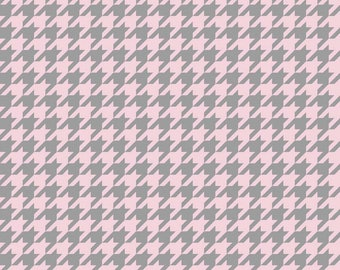 Medium Houndstooth in Baby Pink and  Gray by Riley Blake  - you pick the cut