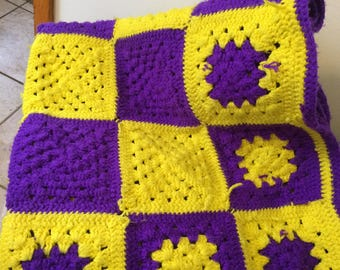Vintage 1970s Purple and Yellow Vibrant  Granny Square 52 x 54 Hand Crochet Afghan Blanket