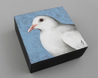 Dove of Peace painting - white dove - square art block - white bird decor - housewarming gift - home decor - dove art- peace dove painting