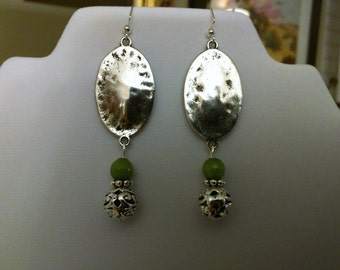 Antique Silver and Green Jade Dangle Earrings