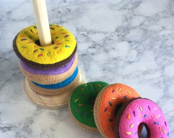Felt Donut Stacker || felt donuts, gift for kids, sensory toy, 1st birthday gift, toddler toys, felt toys, modern stacker, circa86 bakery