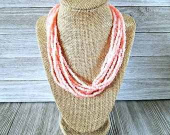 Coral pink necklace, pink necklace, coral necklace, coral pink beaded necklace, pink beaded necklace, coral jewelry, pink necklace, coral ne