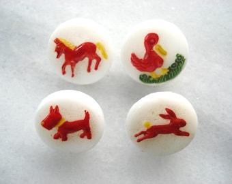 Vintage Milk Glass Children's Buttons