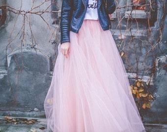 Blush Pink Full Length Wedding Bridesmaid Gown Long Tulle Skirt