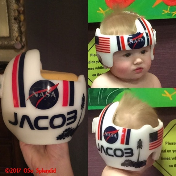 Space inspired personalized cranial band astronaut design